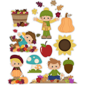 autumn boys playing in leaves stickers
