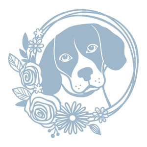 beagle floral wreath
