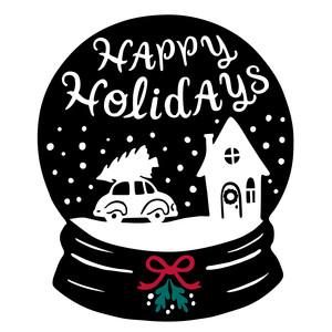 happy holidays snowglobe