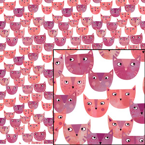 pink watercolor kitty cat pattern