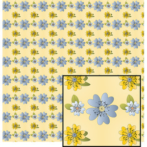 blue and yellow floral pattern