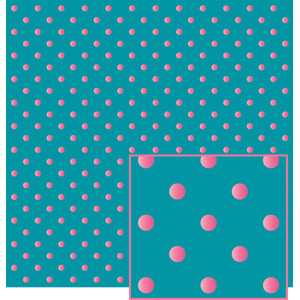 aqua and pink polka dot pattern