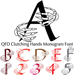 qfd clutching hands monogram font