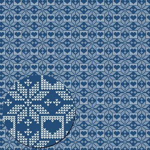 christmas knitted pattern blue