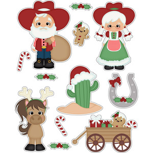 christmas cowboy santa stickers