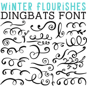 cg winter flourishes dingbats