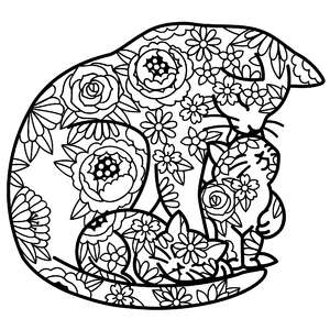 mother cat with kittens floral mandala