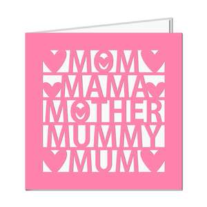 mother words cut out card