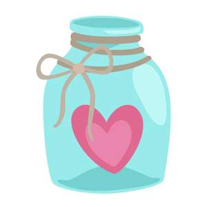 jar with heart