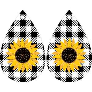 sunflower buffalo plaid earrings