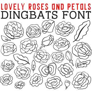 cg lovely roses and petals dingbats