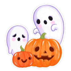 kawaii ghosts and pumpkins