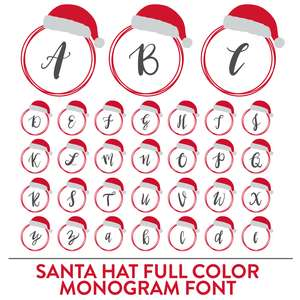 santa hat full color monogram font