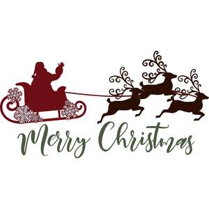 merry christmas santa sleigh with reindeer