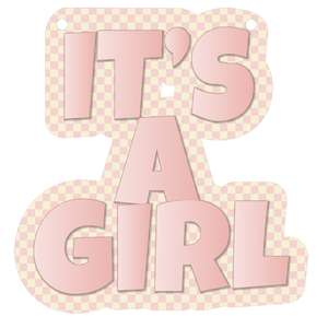 it's a girl banner piece - pink gingham
