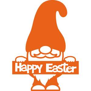gnome with happy easter banner