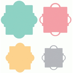 set of 4 nesting fancy label shapes