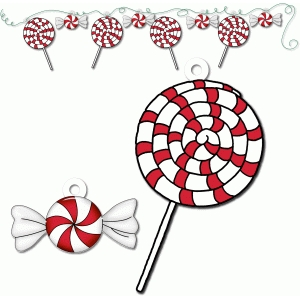 peppermint candies tags/ornaments/bunting - pnc