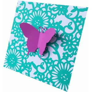 floral flourish & butterfly square card