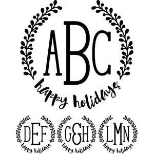 monogram type - happy holidays wreath