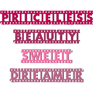 grunge film strip words- dreamer - priceless- beauty- sweet