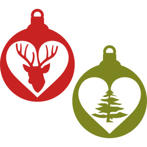 deer and tree heart ornament
