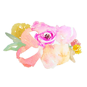 cute watercolor flower bunch