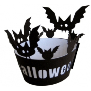 bats happy halloween cupcake wrapper