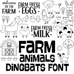 farm animals dingbats font