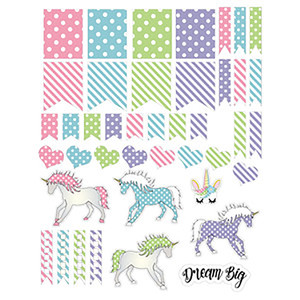 unicorns and polka dot planner stickers