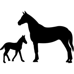 mare with baby horse silhouette
