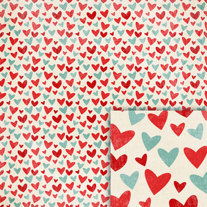 winter hearts background paper