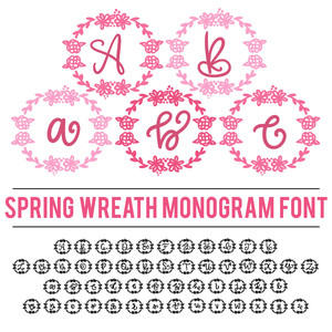 spring wreath monogram font