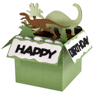qfd dinosaur birthday card in a box