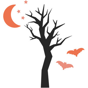 spooky tree with moon and bats