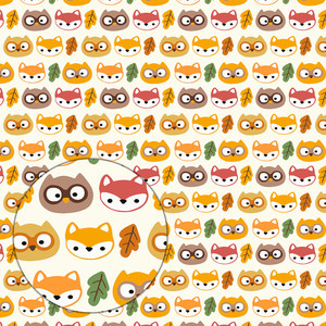 autumn pattern with cute owls and foxes