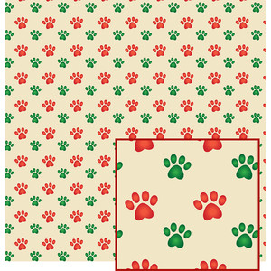 christmas colors dog paws pattern
