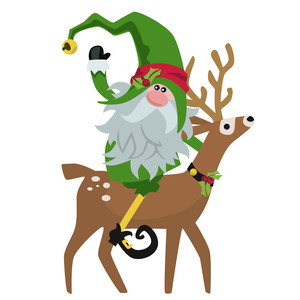 christmas elf with deer