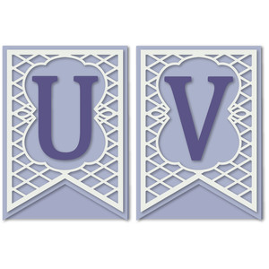 pennant lattice card letters u v