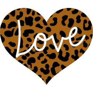 love leopard print heart
