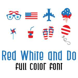 red, white and do full color font