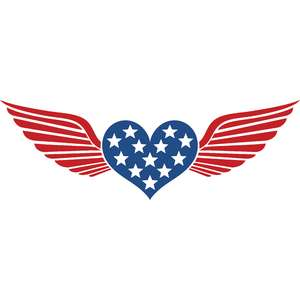 independence day heart wings