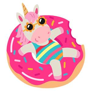 unicorn in doughnut float