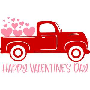 happy valentine's day red truck