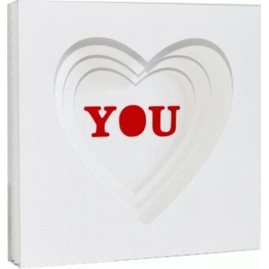 3d card - layered hearts shadow frame