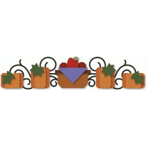 basket & pumpkins border
