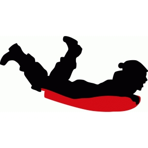child sledding downhill