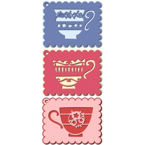 set of layered tea cup gift tags or labels