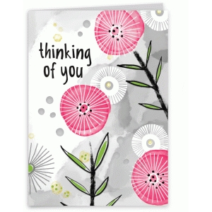 thinking of you watercolor flower card