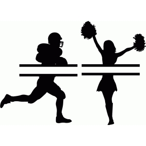 customizable football player and cheerleader split title
